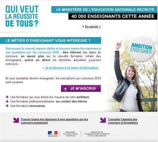 Recrutement enseignants Education nationale 2014 questionsdemploi.fr