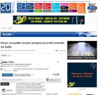 20minutes.fr, audit Linkedin par Gilles Payet, profil Safia, 7 février 2014