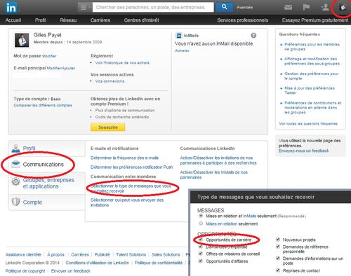 Linkedin, préférences et confidentilité
