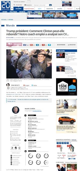 20minutes.fr, Gilles Payet analyse le CV d'Hillary Clinton